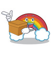 with box colorful rainbow character cartoon vector image vector image