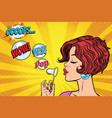 young woman blowing air bubbles comic vector image