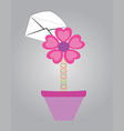 letter with flowers in pot vector image