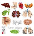 human sick organs cartoon character set vector image
