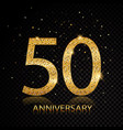 50 anniversary golden numbers isolated on black vector image