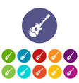 acoustic guitar icons set color vector image vector image