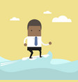 african businessman surfing on the wave vector image