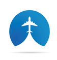 airplane icon in blue vector image vector image