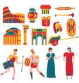 ancient rome icon set vector image vector image