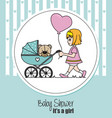 baby girl walking in cart to her teddy bear vector image vector image