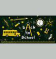 back to school set on green board vector image vector image