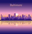 baltimore silhouette on sunset background vector image vector image