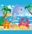 beach theme scenery 3 vector image