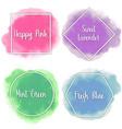 beautiful watercolor labels pastel colors vector image