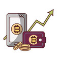 bitcoin smartphone wallet arrow up cryptocurrency vector image