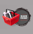 black friday price tag shopping cart and gift box vector image