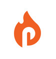 burned letter p logo icon vector image vector image
