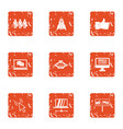 business administration icons set grunge style vector image vector image