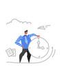 businessman holding clock time management deadline vector image vector image