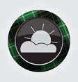 Button green black tartan - partly cloudy icon