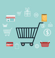 buy on line with shopping cart vector image vector image