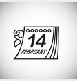 calendar date valentines day thin line on white vector image