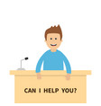 can i help you men male people consultant table vector image