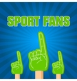 color sport fans foam fingers on the retro vector image