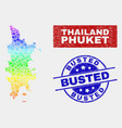 colorful construction phuket map and scratched vector image vector image