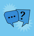 communication speech bubbles on blue background vector image