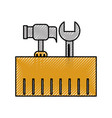 construction box with hammer and wrench tools vector image vector image