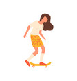 cute modern sexy girl riding on wood skateboard vector image