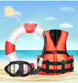 diving mask snorkel life vest and safety torus vector image vector image