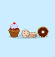 donut muffin cake chip cookies different sweet vector image