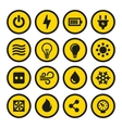 Electric Icons Set Yellow Signs vector image vector image