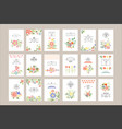 flat set of retro card templates with vector image vector image