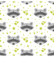 flat style seamless pattern with raccoon vector image vector image