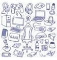 Gamer doodle set vector image
