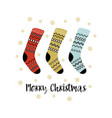 greeting card with christmas socks isolated on vector image
