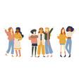 groups female friends portrait young women vector image vector image