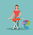 happy young attractive woman ironing clothes vector image vector image