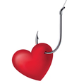 Heart on the hook vector image vector image