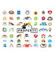 home 46 icons set logo design on white background vector image