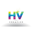 hv h v colorful letter origami triangles design vector image vector image