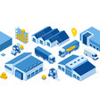 isometric warehouse truck forklift and boxes vector image