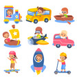 kids transportation children in carriage vehicles vector image vector image