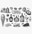 liquor set bottle and shot and distilled alcohol vector image vector image