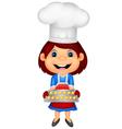 Little girl cartoon baking vector image vector image