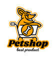logo on the theme of shop for pets a dog vector image