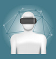 man in virtual reality headset abstract vr vector image vector image