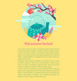 mid autumn festival card with teapot and sakura vector image