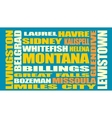 Montana state cities list vector image vector image