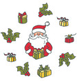 portrait of santa claus and gifts vector image