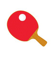 red table tennis racket bat and ball vector image